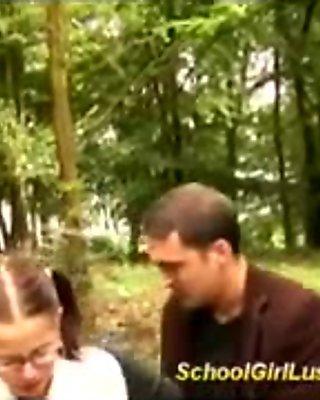 Schoolgirl is screwed in the woods