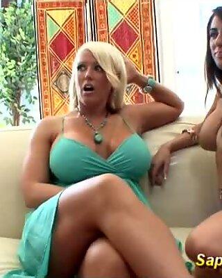 hot busty MILF enjoys lesbian threesome