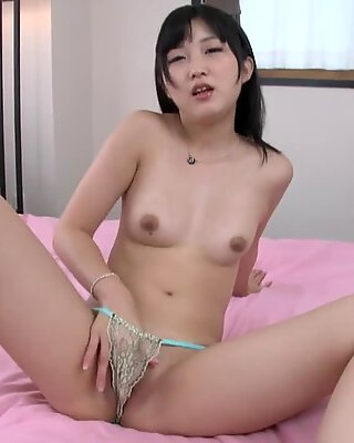 Young Japanese Plays With Dildo