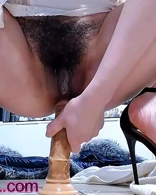 Hairy Pussy Cam Girl  Fucking Her Ass With A Dildo