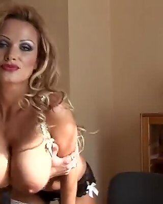 hot busty secretary in stocking and highheels get orgasm in sexy office
