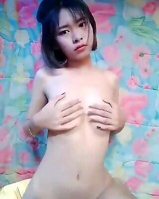 Thai girl recording nude clip