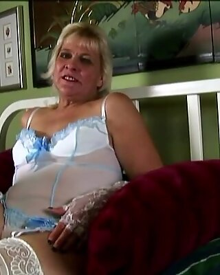 Saucy old spunker in sexy lingerie talks dirty & masturbates