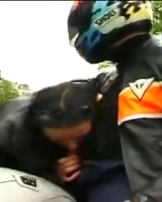 French chick finishes biker off after blowjob