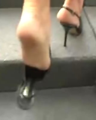 Sex Wife in High Heels walking on the streets