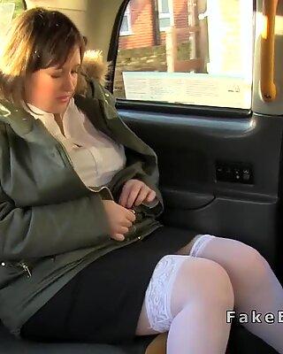 Huge boobs babe anal fucks in fake cab