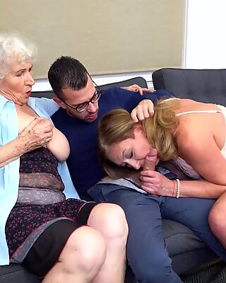 Hairy granny and mom sharing son   s cock