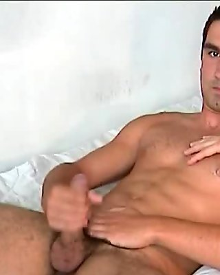 French stud gets wanked his huge cock by us !