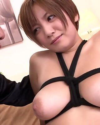 Busty milf asked to be tied up and fucked so that sparks from her eyes.