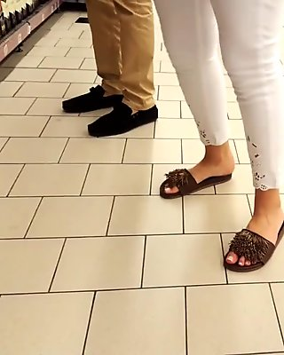 candid feet, her cute french toes, public