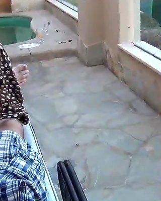 baise sur la terrasse avec couple amateur francais en POV