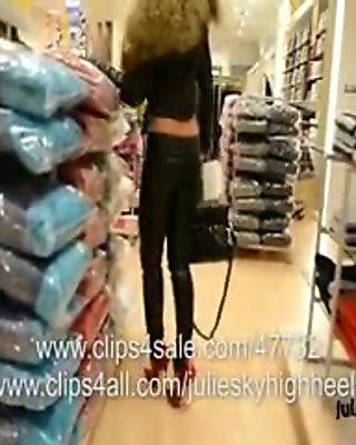 voyeur Public leather fetish pant & extreme high heels