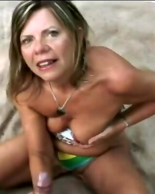 Horny blonde granny having some sweet fun with her boys dick