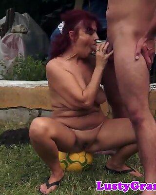 Redhead granny fucked deep in outdoor action