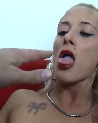 Pretty amateur small titted french blonde anal n facial POV